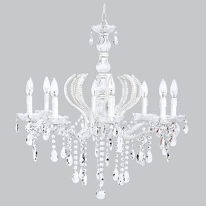 Pageant Eight-Light White Chandelier Beaded with Glass Center