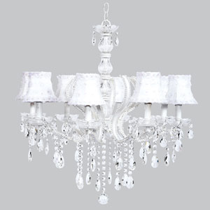Pageant Eight-Light Chandelier with White Petal Flower Shades