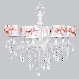 Pageant Eight-Light Chandelier with White Shades and Pink Sashes