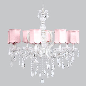 Pageant Eight-Light Chandelier with Pink Scalloped Drum Shades