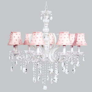 Pageant Eight-Light Chandelier with Pink Pearl Dot Shades