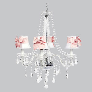 Middleton Four-Light Chandelier with White Shades and Pink Bow Sashes