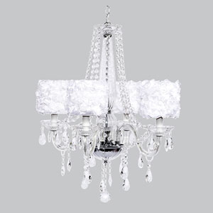 Middleton Four-Light Chandelier with White Rose Garden Drum Shades
