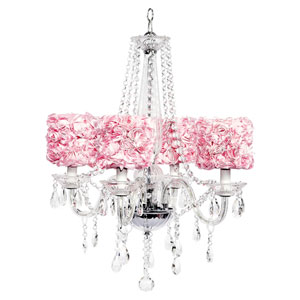 Middleton Four-Light Chandelier with Pink Rose Garden Drum Shades