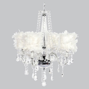 Middleton Four-Light Chandelier with White Feather Drum Shades