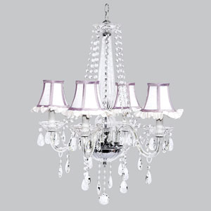 Middleton Four-Light Chandelier with White Ruffled Shades and Lavender Trim