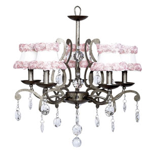 Elegance Pewter Five-Light Chandelier with White and Pink Rose Shades