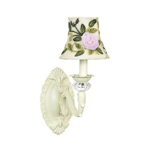 Turret Ivory Sconce with Rose Net Flower Ivory Shade