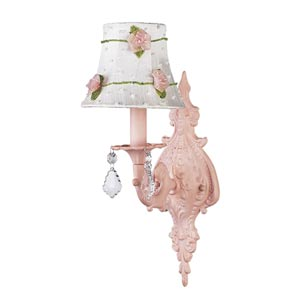 Scroll Pink Sconce with Pink Net Flower White Shade