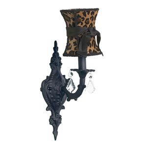 Scroll Black Sconce with Hourglass Leopard with Sash Shade