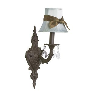 Scroll Mocha Sconce with Plain Blue with Sash Shade