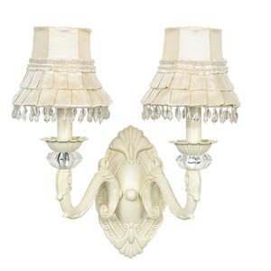 Turret Ivory Two-Light Sconce with Skirt Dangle Ivory Shades