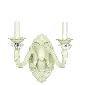 Turret Ivory Two-Light Sconce
