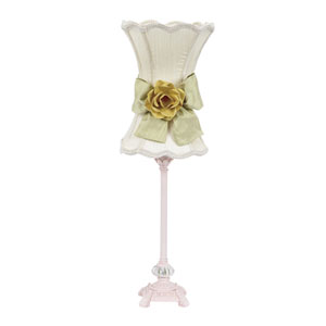 Pink One-Light Table Lamp with Ivory Scalloped Hour Glass Shade and Yellow Rose Detail