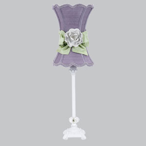 White One-Light Table Lamp with Lavender Scalloped Hourglass Shade and Green Bow with Lavender Rose