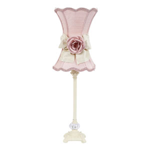 Ivory One-Light Table Lamp with Pink Scalloped Hourglass Shade and Ivory Bow with Pink Rose