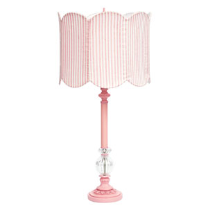 Pink Large Glass Ball Lamp with Pink and White Stripe Double Scalloped Drum Shade