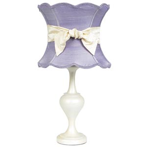 Curvature Pearlized Large Table Lamp with Extra Large Scallop Hourglass Lavender Shade