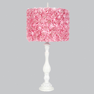 Lotus Base White One Light Table Lamp with Pink Rose Garden Shade