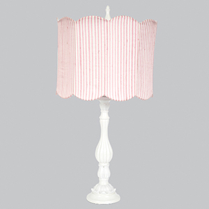 Lotus White One Light Table Lamp with Pink Double Scallop