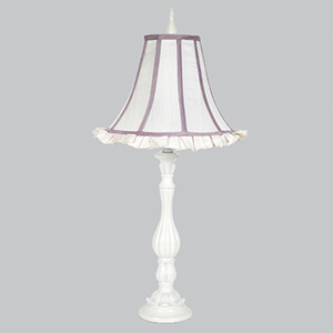 Lotus White One Light Table Lamp with Lavender Trimed Ruffled Shade