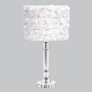 Crystal Slender Lamp with White Rose Garden Drum Shade