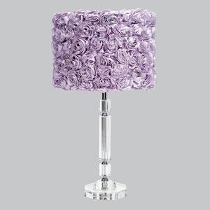 Crystal Slender Lamp with Lavender Rose Garden Drum Shade