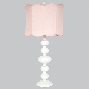 Bola White 29-Inch One Light Table Lamp with Pink Double Scallop Drum Shade