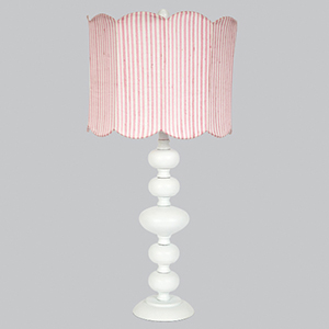 Bola White 29-Inch One Light Table Lamp with Pink Stripe Double Scallop Drum Shade