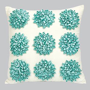 Dahlia Turquoise 18 x 18 Decorative Pillow