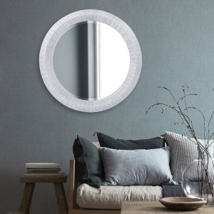 Grayson Blue Gray Round Wall Mirror
