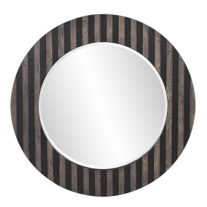 Winchester Black and Tan Round Wall Mirror