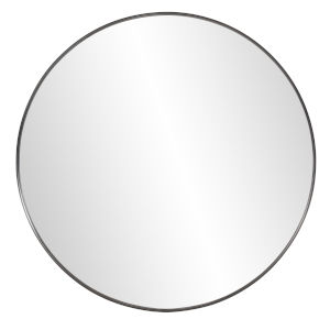 Steele Brushed Black Round Wall Mirror