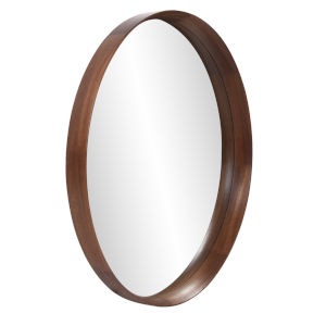 Reagan Reddish Brown Round Wall Mirror