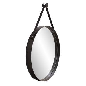 Huntley Brushed Black Round Wall Mirror