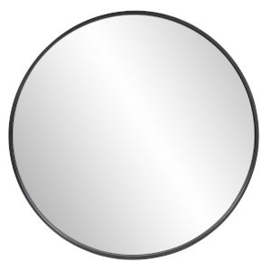 Copenhagen Brushed Black Round Wall Mirror