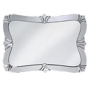 Fleur de Lis Messina Silver Rectangle Mirror