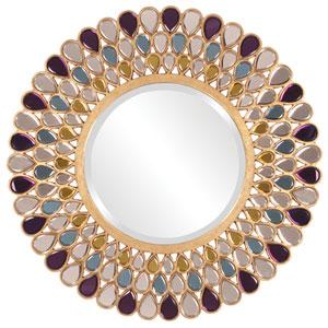 Amethyst Amber Topaz Glass Round Mirror