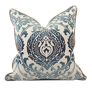 Davida Kay Damask Indigo 20 x 20 Pillow - Down Insert