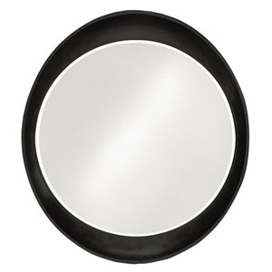 Ellipse Glossy Black Round Mirror