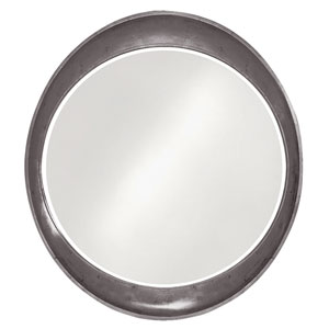 Ellipse Glossy Charcoal Gray Round Mirror