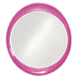 Ellipse Glossy Hot Pink Round Mirror