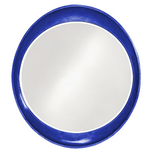 Ellipse Glossy Royal Blue Round Mirror