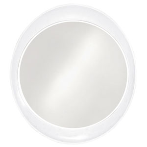 Ellipse Glossy White Round Mirror