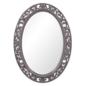 Suzanne Glossy Charcoal Grey Oval Mirror