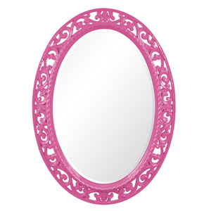 Suzanne Glossy Hot Pink Oval Mirror