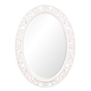 Suzanne White Oval Mirror