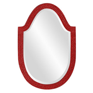 Lancelot Red Arched Oval Mirror