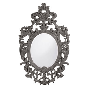 Dorsiere Charcoal Gray Oval Mirror