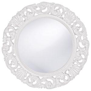 Glendale White Round Mirror